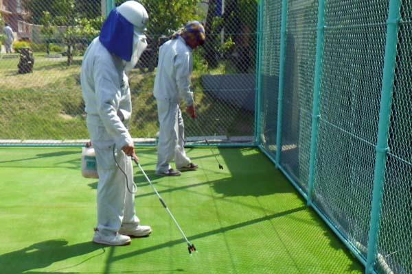 人工芝リフレッシュ ④コケ防除剤(2回目)散布