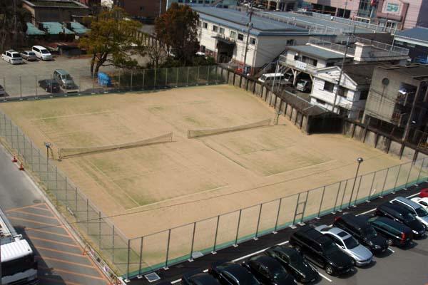 九州大学(馬出)テニスコート整備工事 上空写真