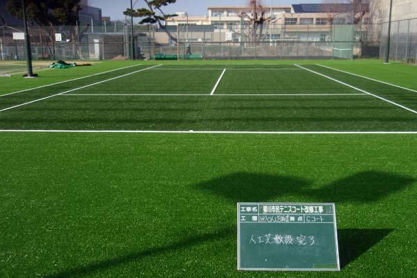 柳川市民テニスコート改修工事 砂充填前